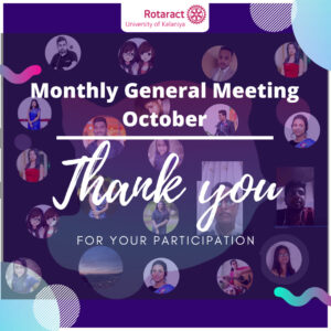 Read more about the article Monthly General Meeting- October.
